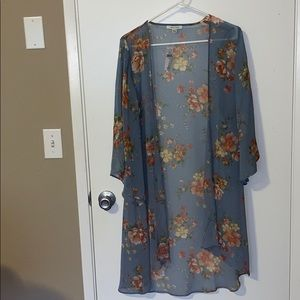 NWT AE Outfitters blue floral print sheer kimono